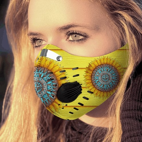 Hippie sunflower filter carbon pm 2,5 face mask 2