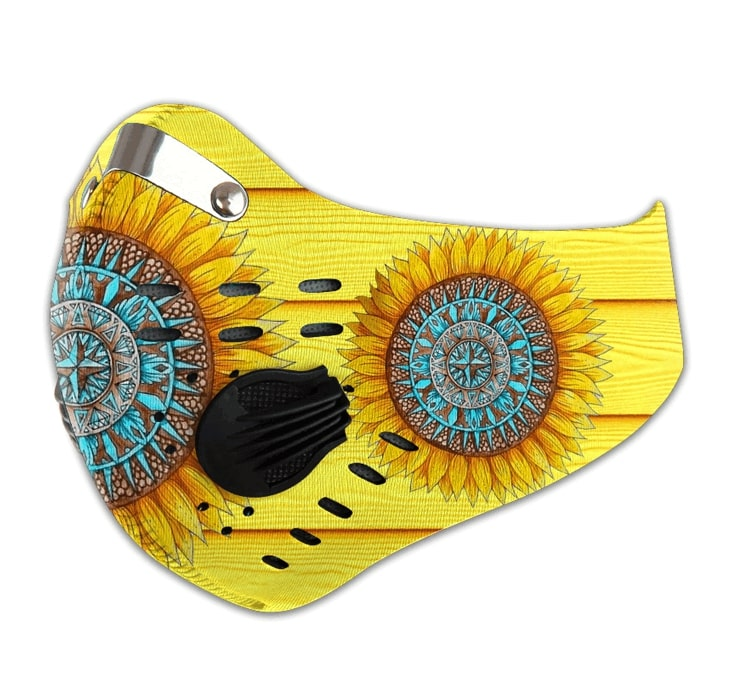 Hippie sunflower filter carbon pm 2,5 face mask 4