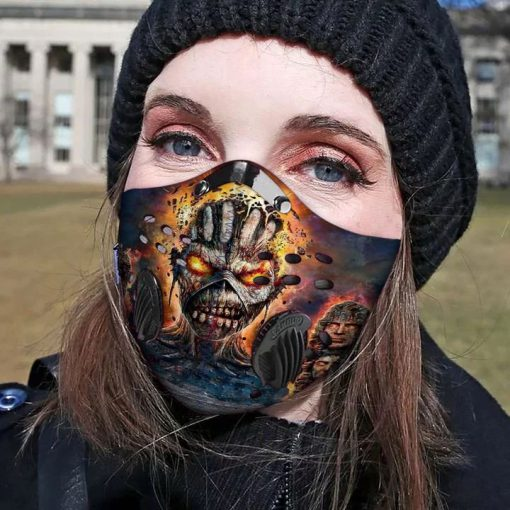 Iron maiden skull carbon pm 2,5 face mask 3