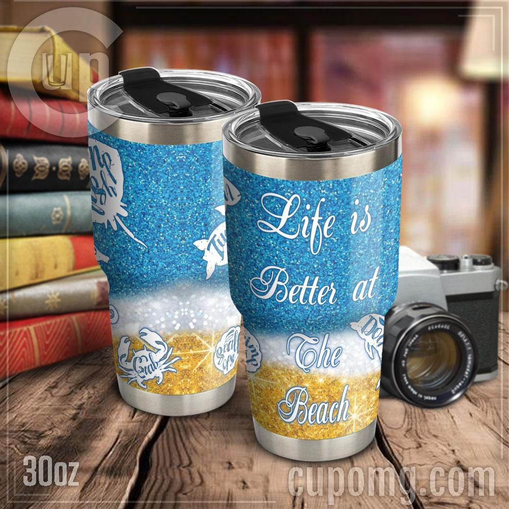 Life is better at the beach steel tumbler 1