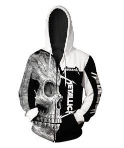 Metallica sugar skull full over print zip hoodie