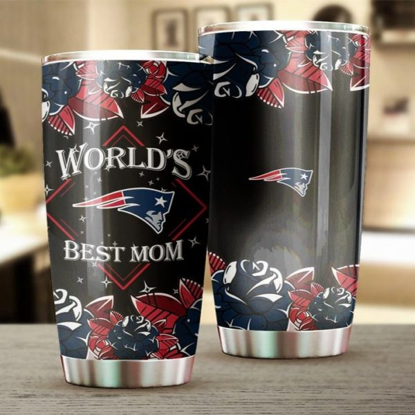 New england patriots world's best mom full over printed steel tumbler 3