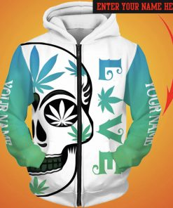 Personalized love weed sugar skull full printing zip hoodie