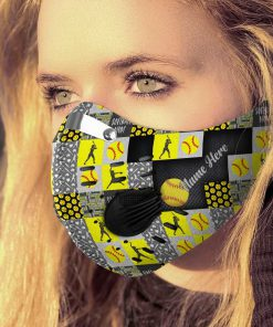 Personalized softball mom carbon pm 2,5 face mask 1