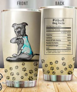Pitbull dog facts all over printed tumbler