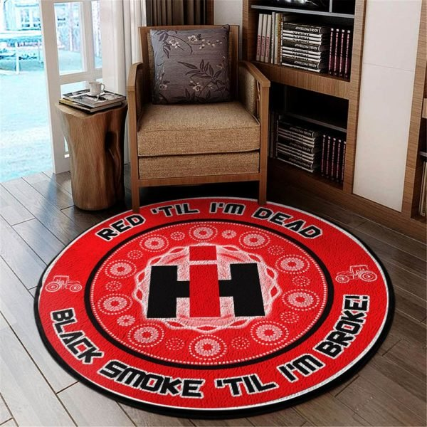 Red til i'm dead black smoke til i'm broke ih vinyl decal rug 1