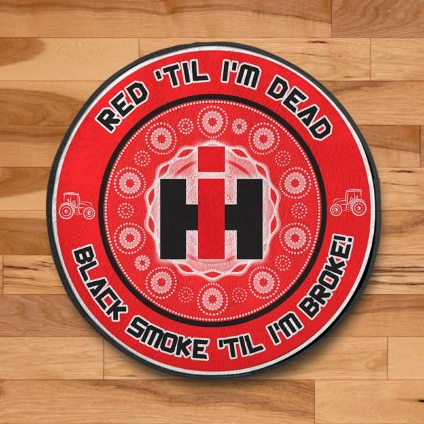 Red til i'm dead black smoke til i'm broke ih vinyl decal rug 2