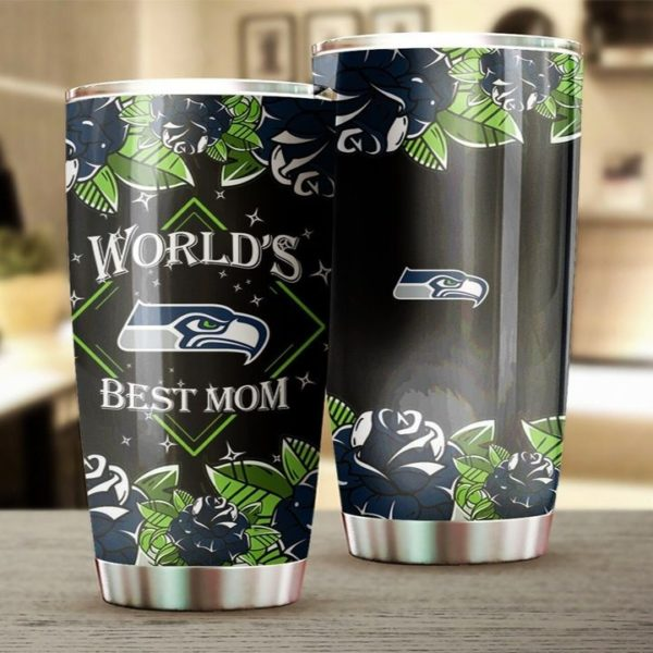 Seattle seahawks world's best mom all over printed steel tumbler 1