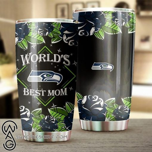Seattle seahawks world's best mom all over printed steel tumbler
