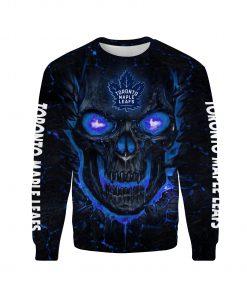 Skull toronto maple leafs full over print sweatshirt