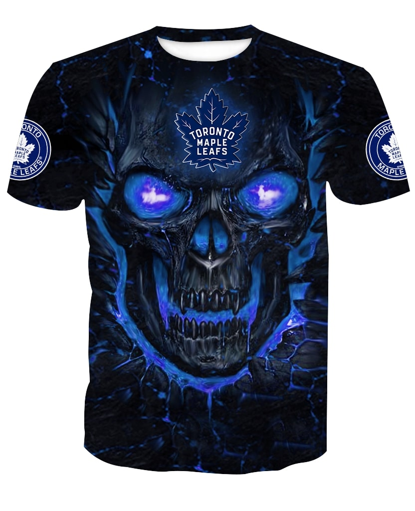 Skull Toronto Maple Leafs Full Over Print Shirt And Hoodie