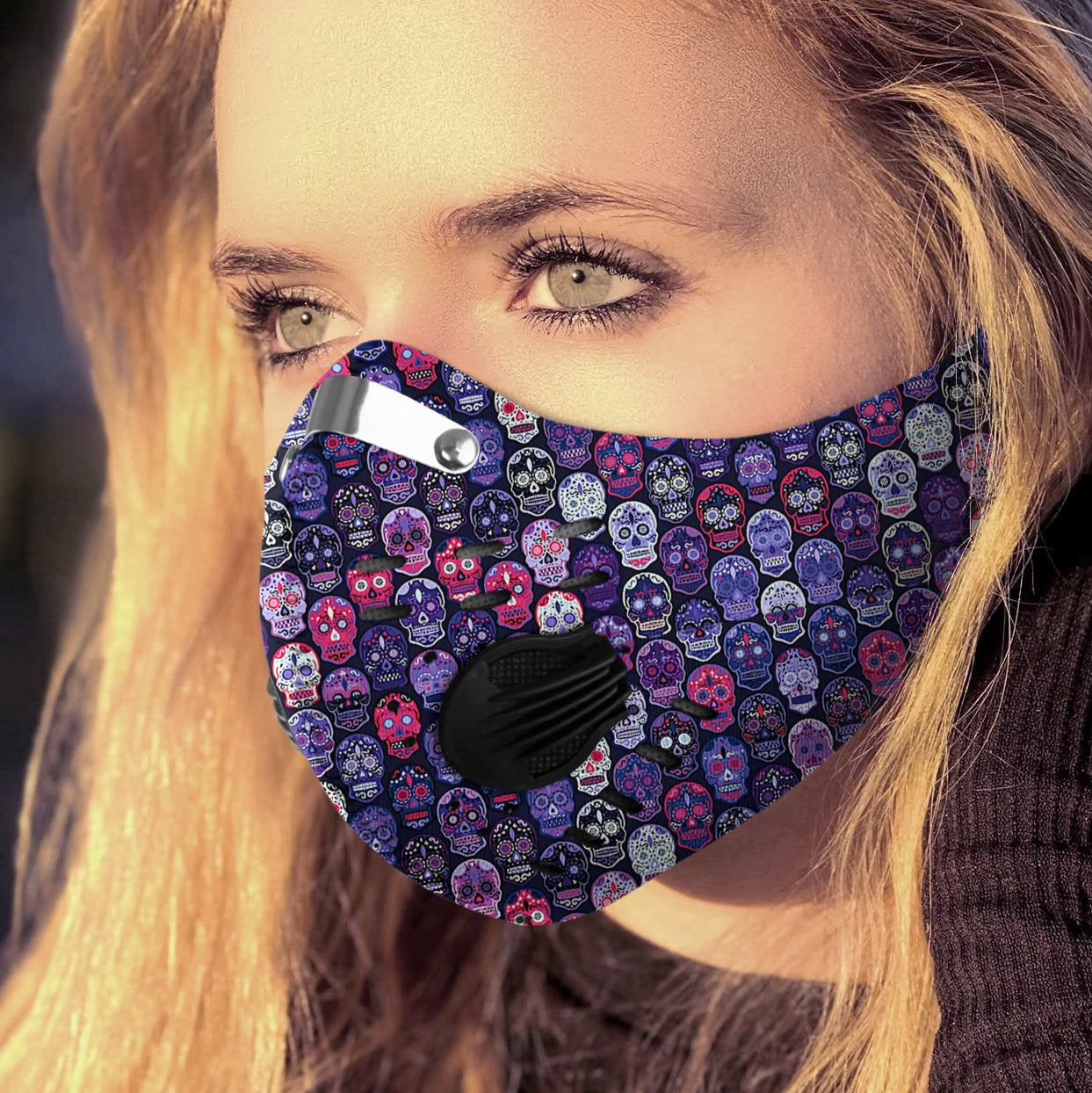 Sugar skull carbon pm 2,5 face mask 2