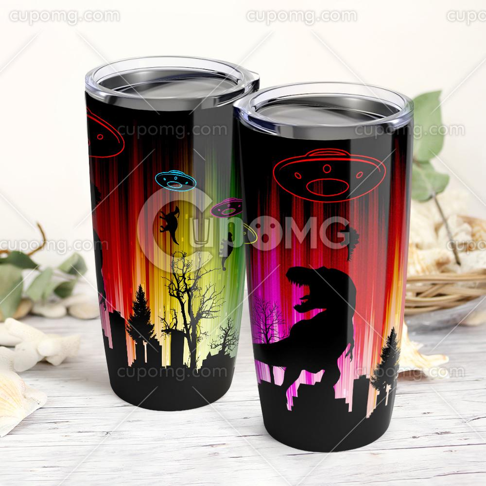 UFO dinosaurs all over printed tumbler 1