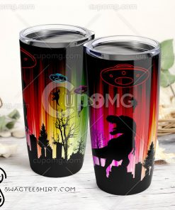 UFO dinosaurs all over printed tumbler