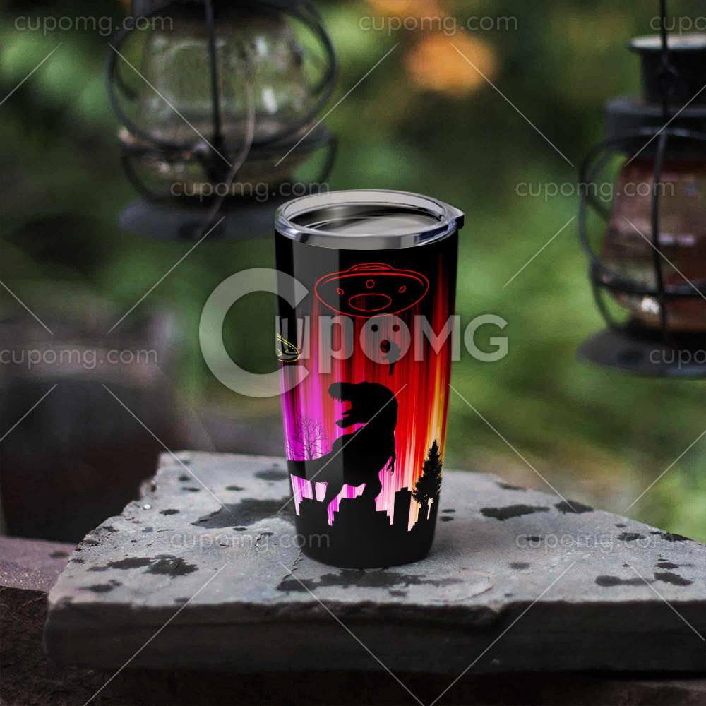 UFO dinosaurs all over printed tumbler 3