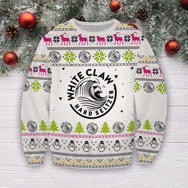 White claws hard seltzer full printing ugly christmas sweater 1
