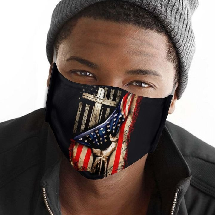 American flag in god we trust anti-dust cotton face mask 1