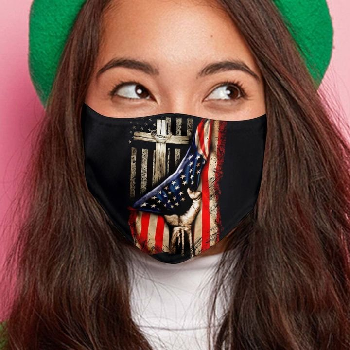 American flag in god we trust anti-dust cotton face mask 2