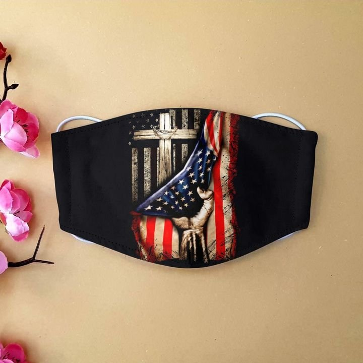 American flag in god we trust anti-dust cotton face mask 4