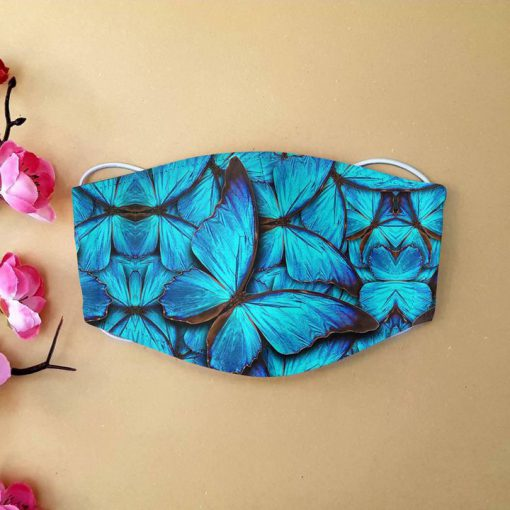 Blue butterfly anti-dust cotton face mask 1