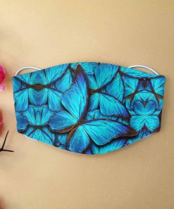Blue butterfly anti-dust cotton face mask 2