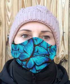 Blue butterfly anti-dust cotton face mask 3