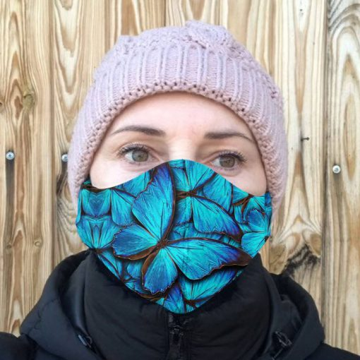 Blue butterfly anti-dust cotton face mask 4