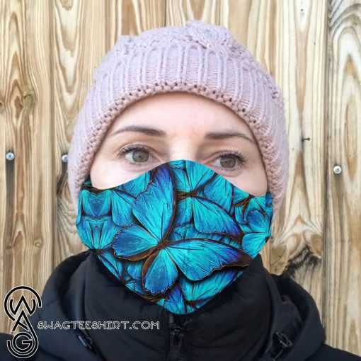 Blue butterfly anti-dust cotton face mask