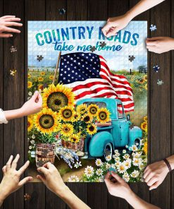 Country roads take me home american flag jigsaw puzzle 1