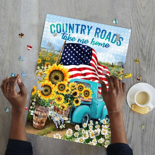 Country roads take me home american flag jigsaw puzzle 2