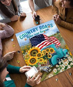 Country roads take me home american flag jigsaw puzzle 4