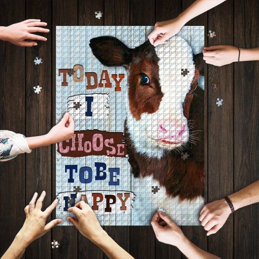 Cow heifer today i choose tobe happy jigsaw puzzle 1