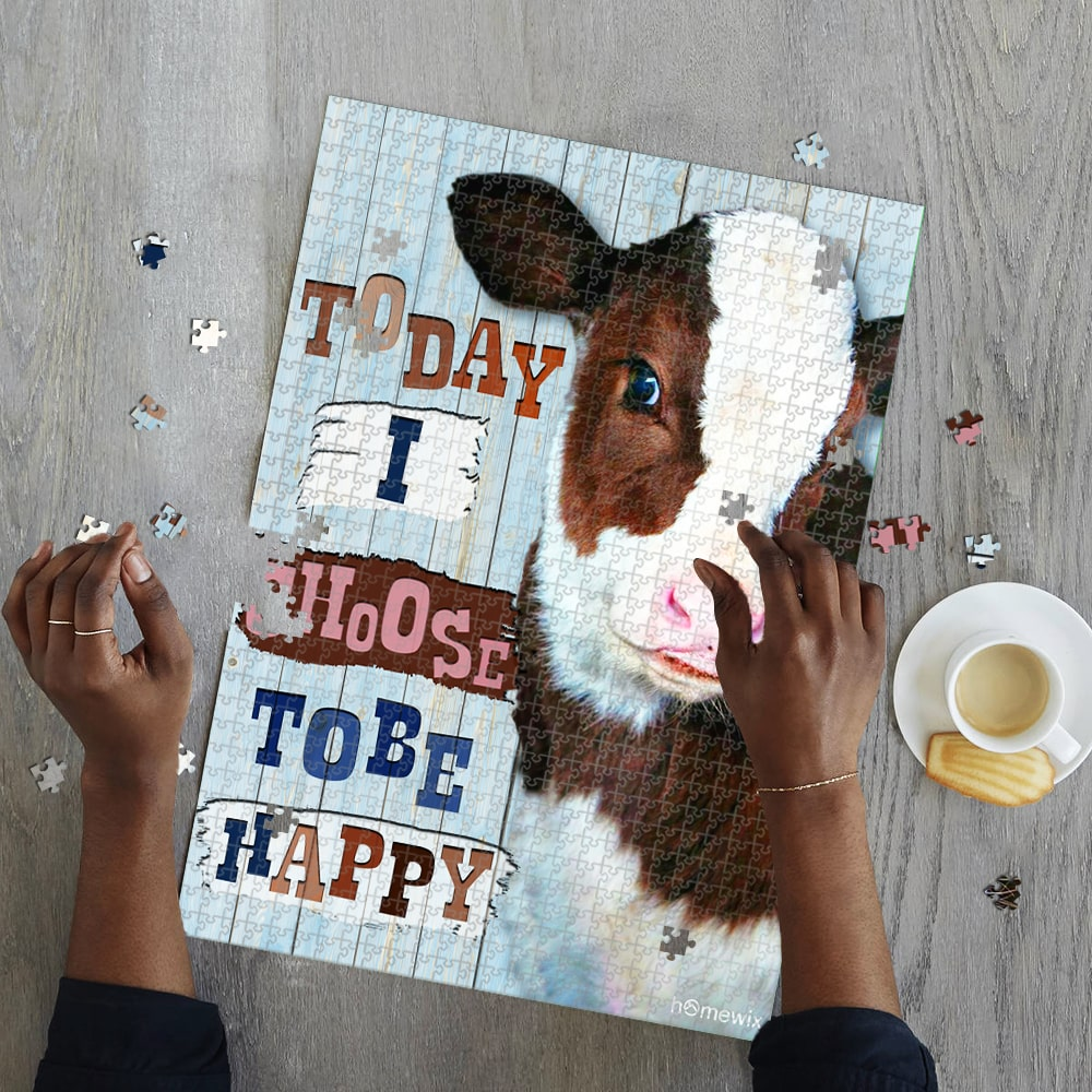 Cow heifer today i choose tobe happy jigsaw puzzle 2