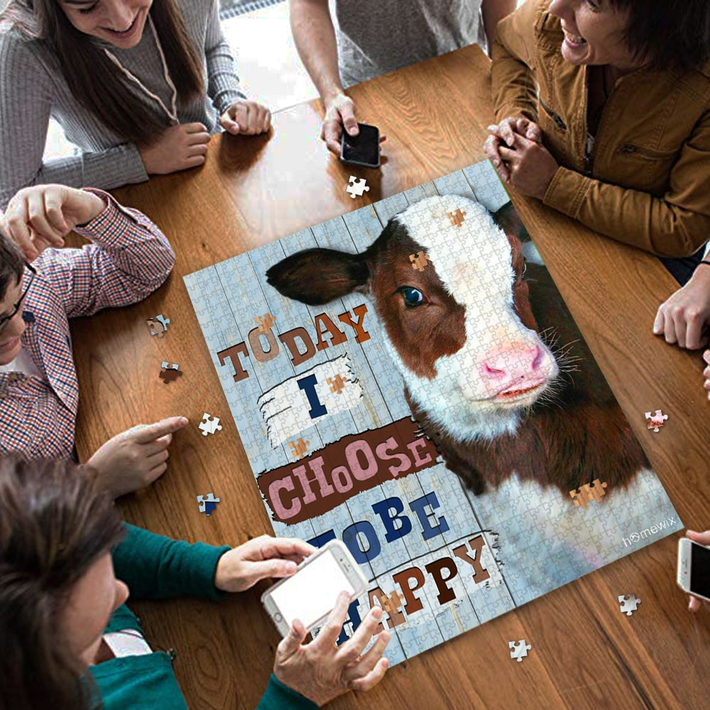 Cow heifer today i choose tobe happy jigsaw puzzle 3