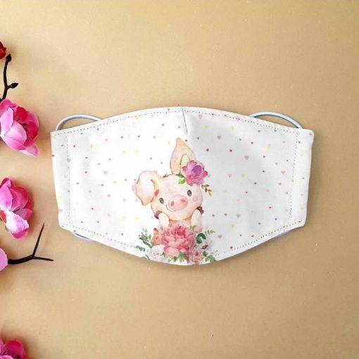Cute pig with flower anti-dust cotton face mask 1