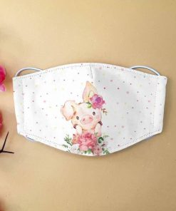 Cute pig with flower anti-dust cotton face mask 2