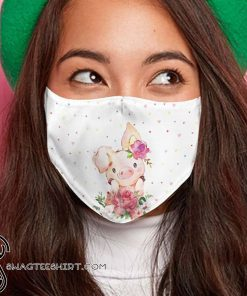 Cute pig with flower anti-dust cotton face mask