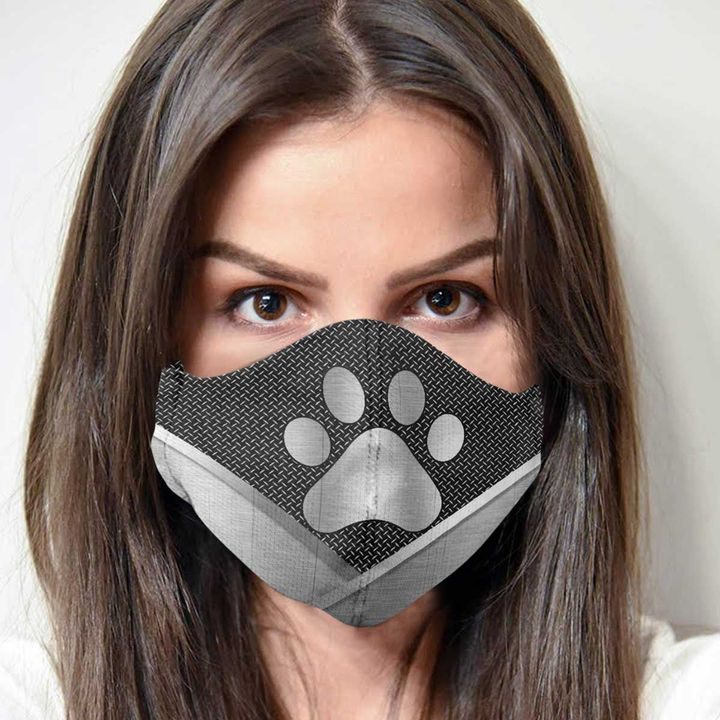 Dog lover dog paw metal anti-dust cotton face mask 1