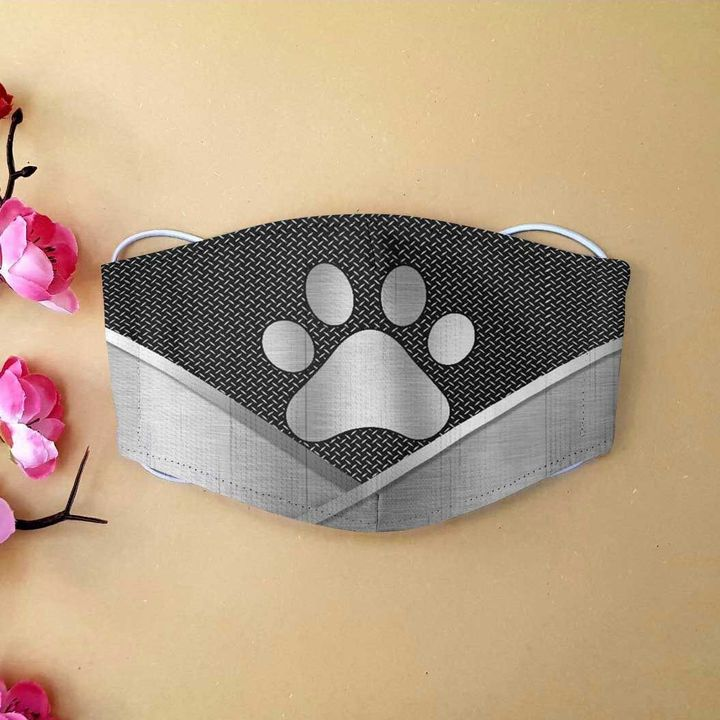 Dog lover dog paw metal anti-dust cotton face mask 4