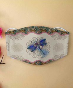 Dragonfly and mandala anti-dust cotton face mask 1