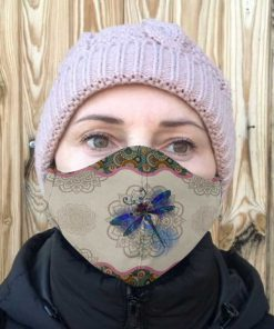 Dragonfly and mandala anti-dust cotton face mask 3
