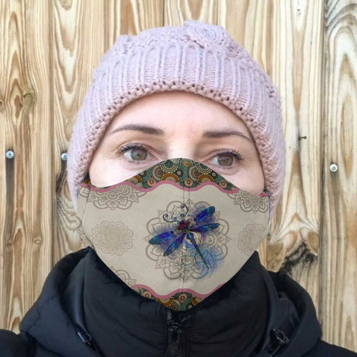 Dragonfly and mandala anti-dust cotton face mask 4