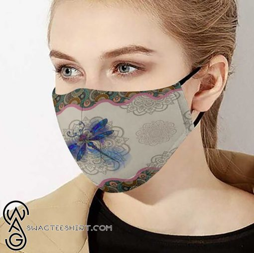 Dragonfly and mandala anti-dust cotton face mask