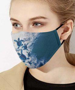 Faith hope love sea turtles anti-dust cotton face mask 4