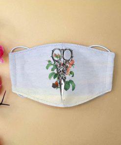 Floral hairstylist scissors anti-dust cotton face mask 1