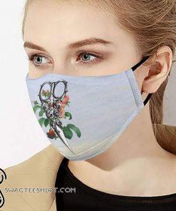 Floral hairstylist scissors anti-dust cotton face mask
