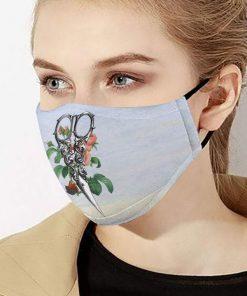 Floral hairstylist scissors anti-dust cotton face mask 3