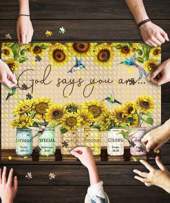 God says you are Sunflower Hummingbirds jigsaw puzzle 1