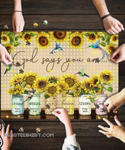 God says you are Sunflower Hummingbirds jigsaw puzzle