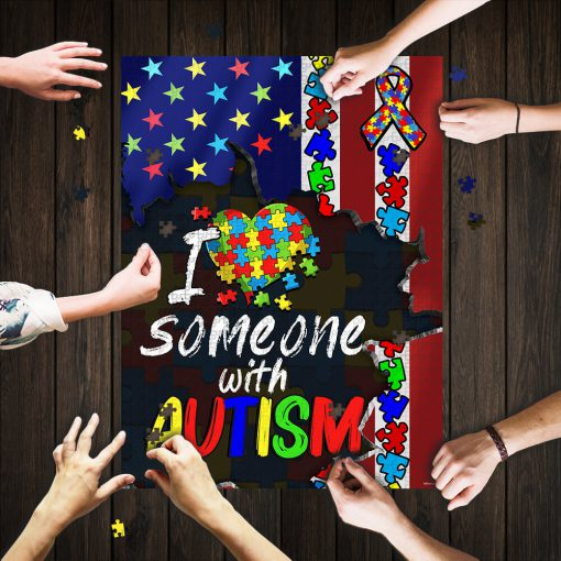 I love someone with autism awareness jigsaw puzzle 1